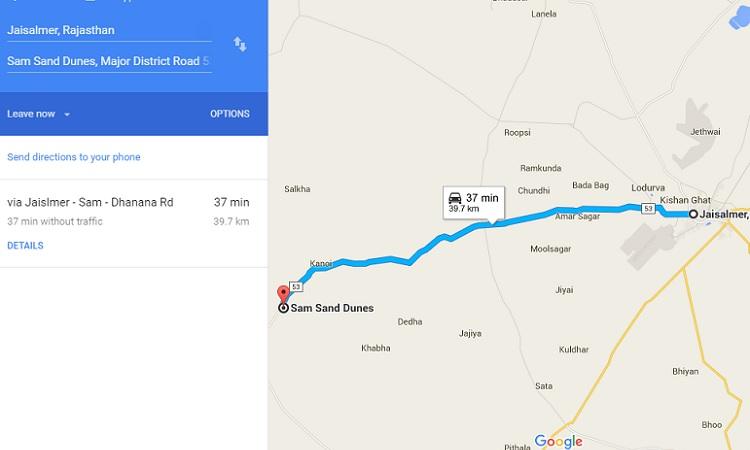 Jaisalmer-to-Sam-sand-dunes-distance
